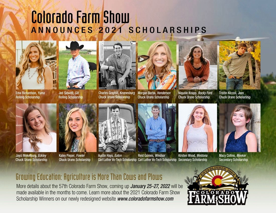 Congratulations to the 2021 Colorado Farm Show Scholarship Winners!