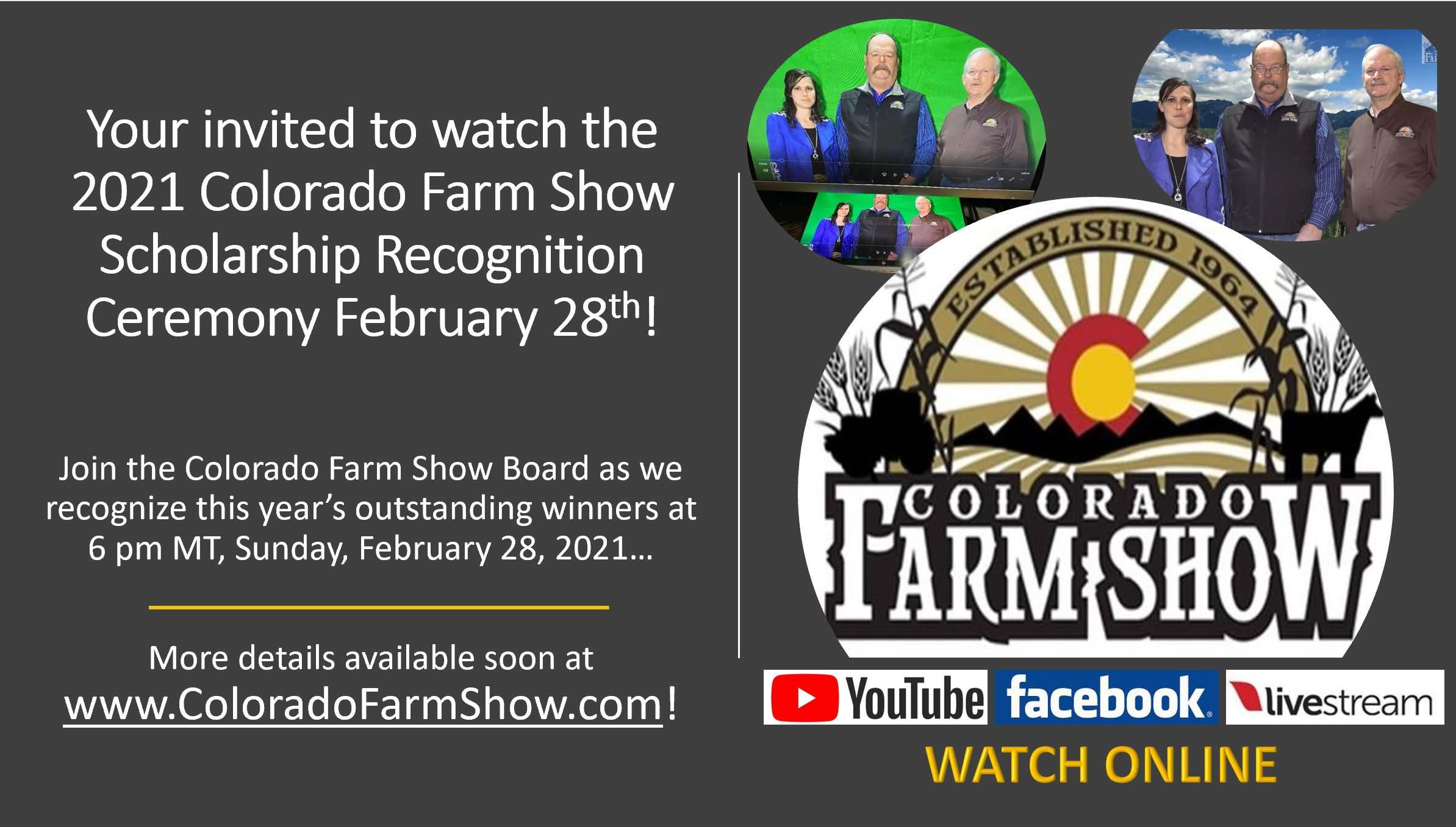 Watch the 2021 Colorado Farm Show Scholarship Recognition Webcast on Sunday, February 28th @ 6 pm MT!